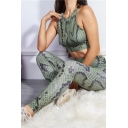 Hot Popular Snake Skin Printed Cut Out Back Tank Top & Skinny Pants Green Sports Set