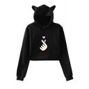 Cute Kawaii Girls' Long Sleeve Finger Heart Patterned Loose Fit Crop Cat Ear Hoodie