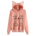 Trendy Cute Girls' Long Sleeve Drawstring Kitty Print Kangaroo Pocket Baggy Cat Ear Hoodie