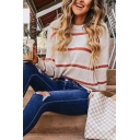 Women's Casual Balloon Sleeve Boat Neck Stripe Printed Purl-Knit Baggy Pullover Sweater in White