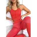 Ladies Sexy Plain Red Cropped Tank Top & Casual Pants Outdoor Fitness Co-ords