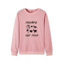 Trendy Street Women's Long Sleeve Round Neck FRIENDS NOT FOOD Letter Animals Pattern Relaxed Pullover Sweatshirt