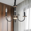 Industrial Candle Metal Chandelier Lighting 3/5 Lights Hanging Pendant Light with Bare Bulb in Black