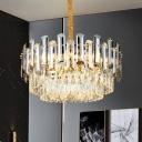 Modern Three Layered Chandelier Pendant Light Crystal 10 Lights Living Room Hanging Ceiling Light in Brass