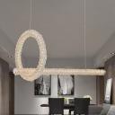 Circle Island Lamp Modern Cut Crystal LED Brass Pendant Light Fixture, 12