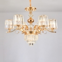 6/8 Bulbs Sputnik Ceiling Chandelier Contemporary Gold Metal Hanging Pendant Light with Crystal Shade