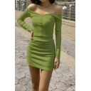 Ladies Vintage Plain Green Long Sleeve Off Shoulder Button Up Top with Mini Skirt Co-ords