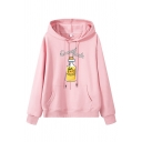 Cute Kawaii Girls' Long Sleeve Drawstring Letter ORANGE SODA Bottle Print Kangaroo Pocket Boxy Hoodie