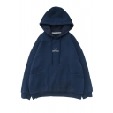 Unisex Fashion Embroidery Letter Print Long Sleeve Navy Loose Drawstring Hoodie