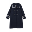 Preppy Girls' Long Sleeve Exaggerate Collar Button Detailed Contrast Piped Striped Midi Baggy Wool Coat in Navy