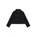 Elegant Trendy Women's Long Sleeve Lapel Neck Button Down Flap Pockets Plain Relaxed Crop Coat