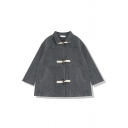 Girls' Fashion Long Sleeve Lapel Collar Pockets Side Sherpa Fleece Baggy Duffle Coat in Dark Grey