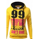 Yellow Cool Long Sleeve Drawstring 99 PROBLEMS BUT MY FAITH AIN'T ONE Letter Slim Hoodie for Women