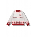 Pretty Stylish Girls' Long Sleeve Crew Neck Floral Zigzag Printed Oversize Purl-Knit Pullover Sweater