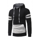Mens Color Block Patchwork Long Sleeve Casual Drawstring Hoodie