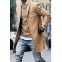 Men's Charming Plain Long Sleeve Notched Collar Single Breasted Longline Wool Coat
