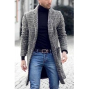 Vintage Plaid Printed Long Sleeve Notched Lapel Dual Pocket Longline Wool Coat