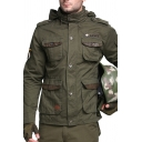 Military Style Plain Multi Pocket Long Sleeve Hidden Placket Army Green Hooded Jacket