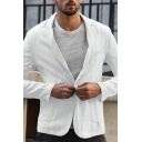 Mens Leisure Plain Notched Collar Long Sleeve One Button Linen Blazer with Double Pocket