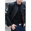 Guys Classic Embroidery Pattern Long Sleeve Zip Up MA-01 Flight Jacket