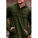 Simple Plain Long Sleeve Inverted Seam Detail Relaxed Fit Drawstring Hoodie with Pocket