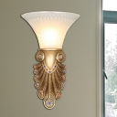 Modern Flared Wall Sconce 1 Light Frosted Glass Wall Light Fixture with Peacock Tail Backplate in Gold