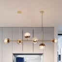 Smoke Gray Glass Orb Hanging Lamp Postmodern 8 Lights Gold Chandelier Light Fixture
