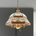6/7 Bulbs Sandblasted Glass Chandelier Colonial Gold Living Room Pendant Lighting Fixture, 19.5
