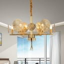 Colonial Lotus Chandelier Lighting Fixture 6/8 Heads Metal Pendant Ceiling Light in Gold for Living Room