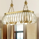 Gold Scalloped Island Chandelier Light Colonial Seeded Glass 10 Lights Dining Room Ceiling Pendant