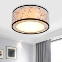 Traditional Drum Ceiling Light Fixture 4/5 Bulbs Fabric Flush Mount Lighting in White for Living Room, 16