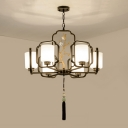 Traditional Cylindrical Hanging Pendant 6/8/10 Heads Milk Glass Chandelier Lighting Fixture in Black for Living Room