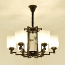 Frosted Glass Black Pendant Chandelier Rectangle 6/8/10 Lights Traditionalist Ceiling Hang Fixture for Bedroom