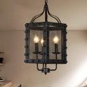 3 Bulbs Metal Chandelier Retro Black Cage Restaurant Pendant Lighting Fixture