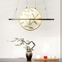 Traditional Oval Hanging Pendant LED Frosted White Glass Suspended Lighting Fixture in Gold