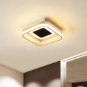 Square Acrylic Ceiling Lighting Fixture Modern Black LED Semi Flush Mount Light in Remote Control Stepless Dimming/Warm/White Light