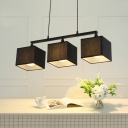 Square Island Lighting Fixture Modern Style 3 Lights Dining Room Chandelier Lamp in Black