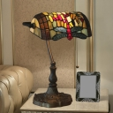 Multicolored Stained Glass Bronze Banker Table Lighting Dragonfly/Red Dragonfly 1 Head Baroque Task Lamp