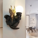 Black Dragon Wall Lamp Traditional Resin 1 Head Bedside Sconce Light Fixture
