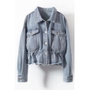 Cool Street Girls' Long Sleeve Lapel Collar Button Down Flap Pockets Elasticated Waist Loose Plain Denim Jacket