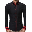 Mens Classic Striped Cuff Long Sleeve Contrast Stitching Button Up Slim Fitted Shirt
