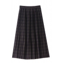 Casual Street Elastic Waist Plaid Pattern Double-Layer Long Relaxed Pleated A-Line Skirt for Girls