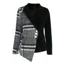 Women's Classic Long Sleeve Notch Lapel Collar Plaid Printed Patched Button Detail Pockets Side Asymmetric Slim Wrap Wool Coat in Black