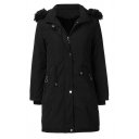 Female Winter Warm Long Sleeve Hooded Zip Button Front Pockets Side Fluff Trim Sherpa Liner Slit Back Relaxed Plain Parka Coat