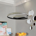 Twist Chandelier Lamp Contemporary Acrylic Black LED Ceiling Pendant Light for Dining Room in White/Warm Light, 18