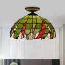1 Light Beaded Ceiling Lamp Tiffany Brass Stained Art Glass Flush Mount Lighting