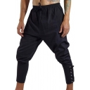 Mens Vintage Style Whole Colored Drawstring Waist Lace Up Ankle Banded Pants
