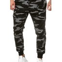 Men's Sportive Letter Tape Patchwork Camo Spot Print Active Pants with Drawstring