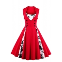 Dressy Ladies' Sleeveless Lapel Collar Floral Print Patched Double Breasted Long Pleated Flared Dress