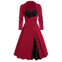 Formal Chic Ladies' Long Sleeve Sweetheart Neck Button Down Patched Ruched Long Wrap Pleated Flared Dress